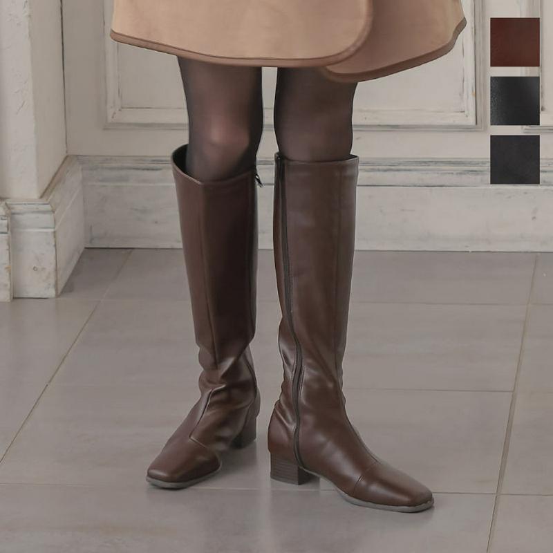 スクエアトゥスリムシルエットロングブーツ [I2208]【入荷済】レディース シューズ 低ヒール 美脚 シンプル【送料無料】
