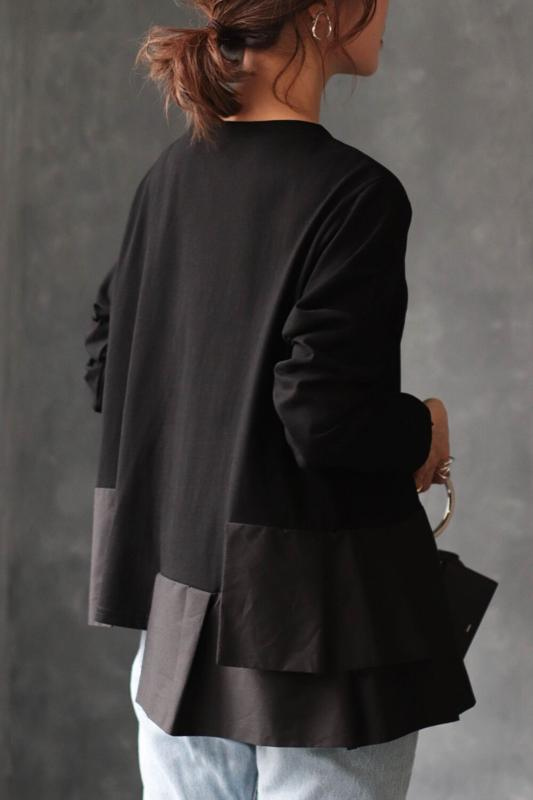 裾切り替えデザインロンT