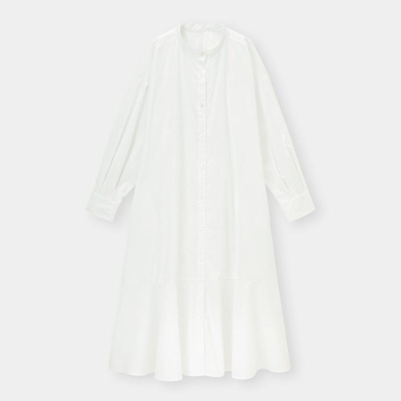 バンドカラーシャツワンピース(長袖)+X