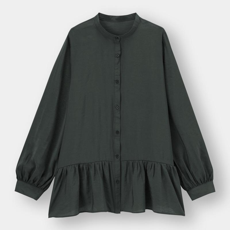 ギャザーフレアロングシャツ(長袖)