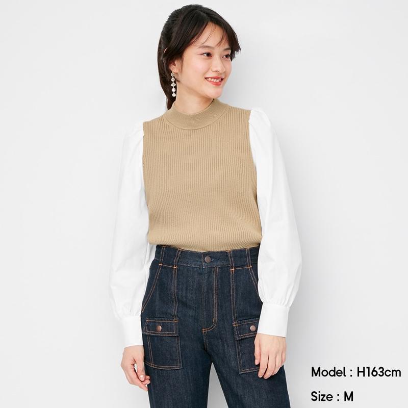 シャツスリーブコンビネーションセーター(長袖)Q