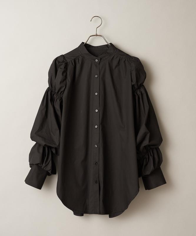 袖ギャザーバンドカラーシャツ