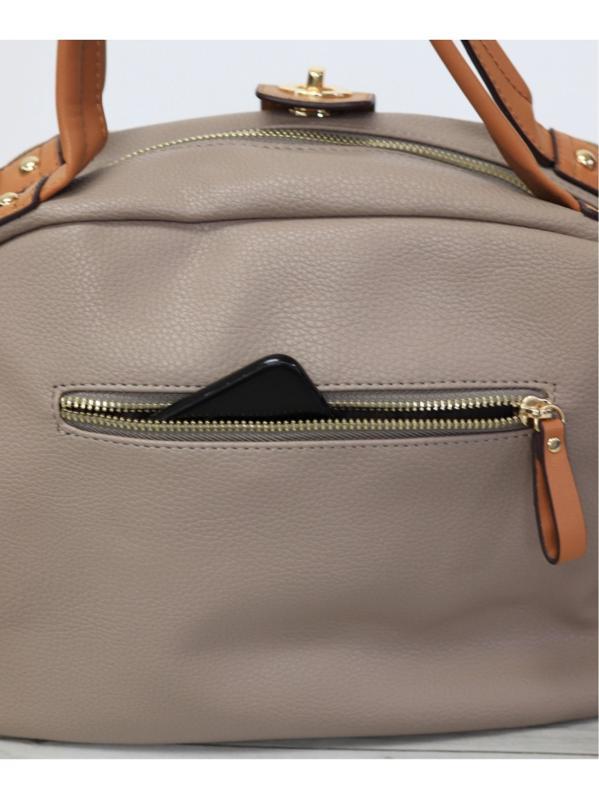 【2way】大容量配色ラウンドハンドバッグ