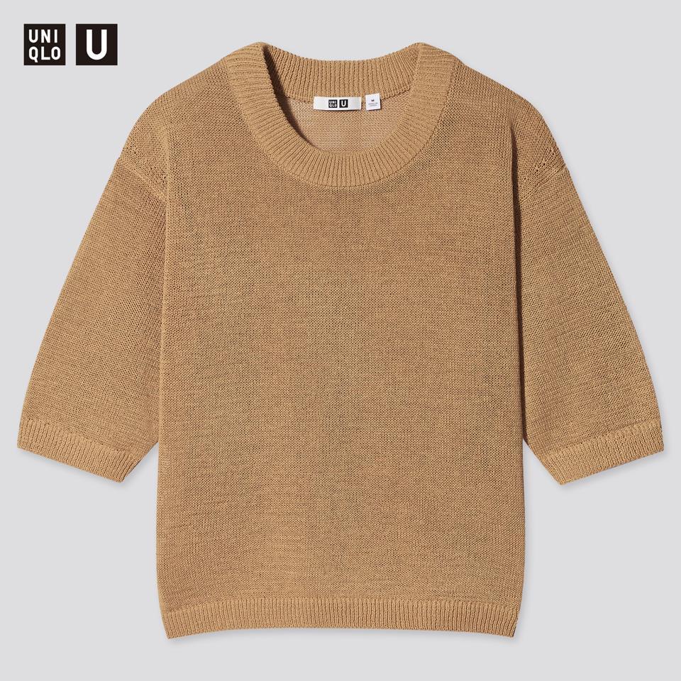 コットンブレンドクルーネックセーター(5分袖)