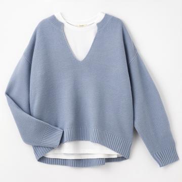 ニットプルオーバー+Tシャツセット(プチプラのあや)