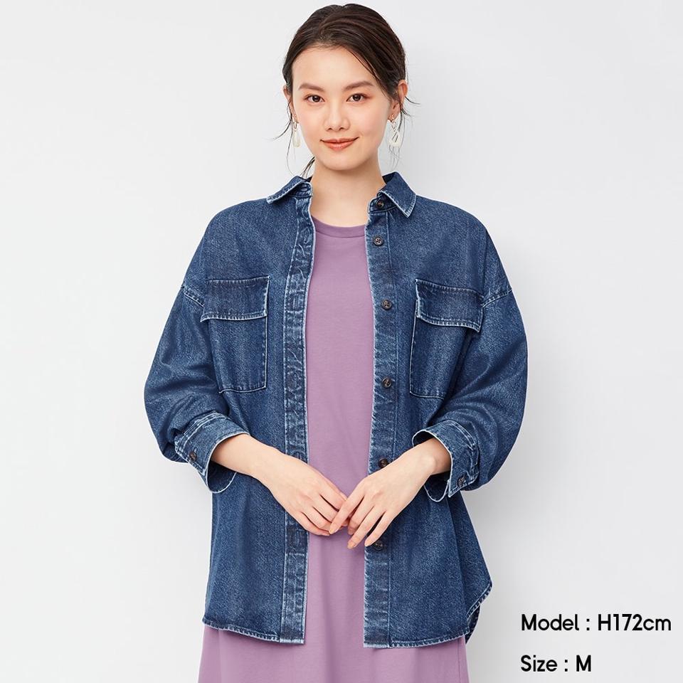 デニムダブルポケットオーバーサイズシャツ(長袖)