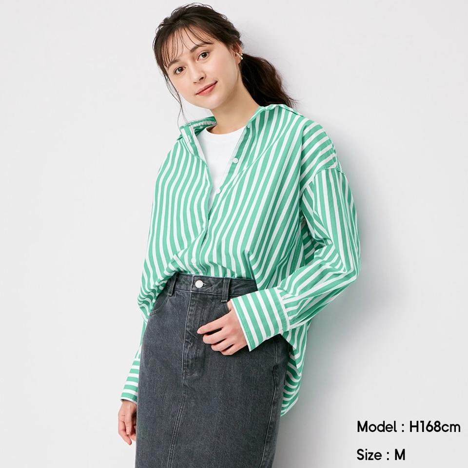 ストライプオーバーサイズシャツ(長袖)SD+E