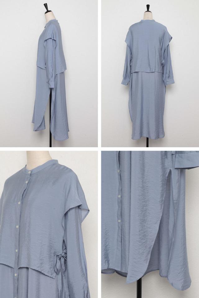 【予約】バンドカラーデザインシャツワンピース