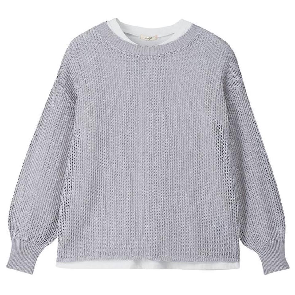 レディース 透かしニットプルオーバー+Tシャツセット(プチプラのあや)