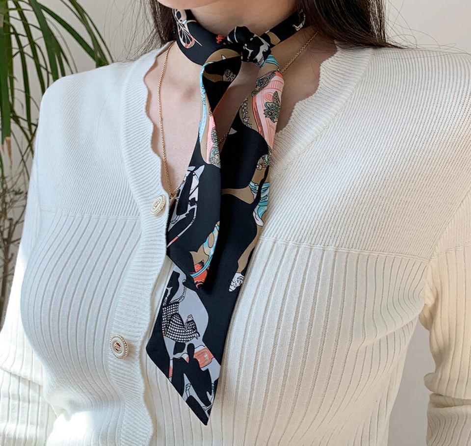 パターンツイリースカーフ・全4色・d67271 レディース 【acc】【スカーフ 総柄 モダン ツイリースカーフ 大人 春 秋 韓国 ファッション】【ハイホリHIHOLLI】
