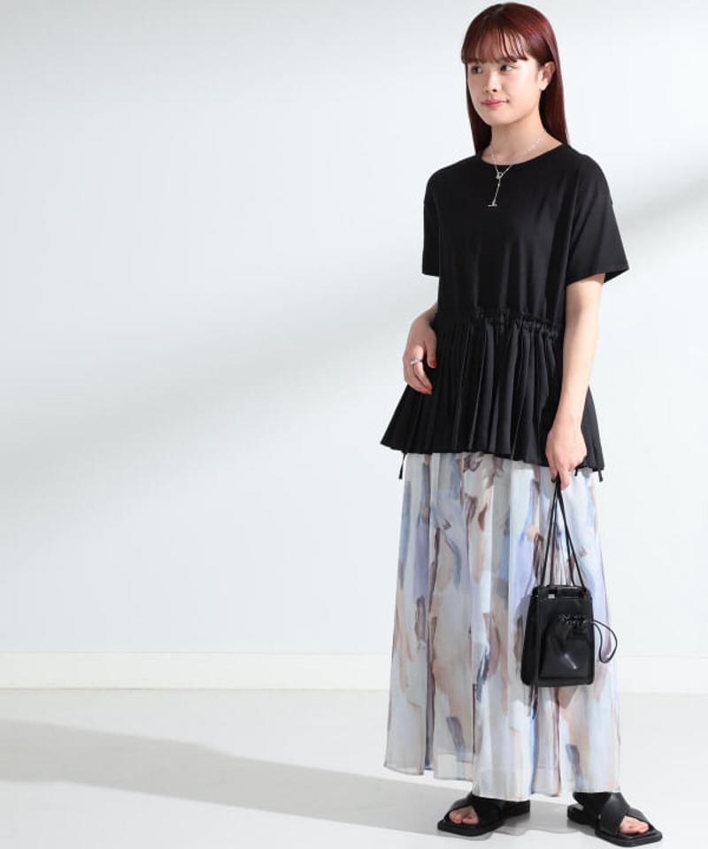 Ray BEAMS / シフォン プリント Aラインスカート