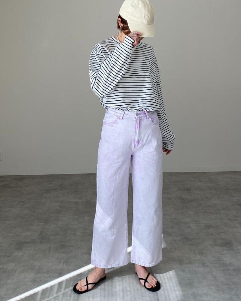 ◆即納◆編み上げレースアップ ハイウエストデニムパンツ