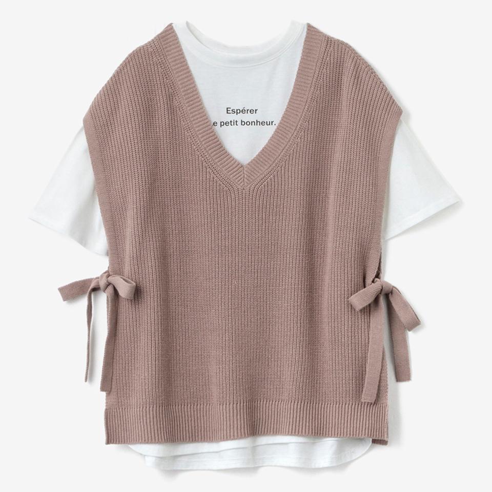 レディース ニットベスト+Tシャツセット