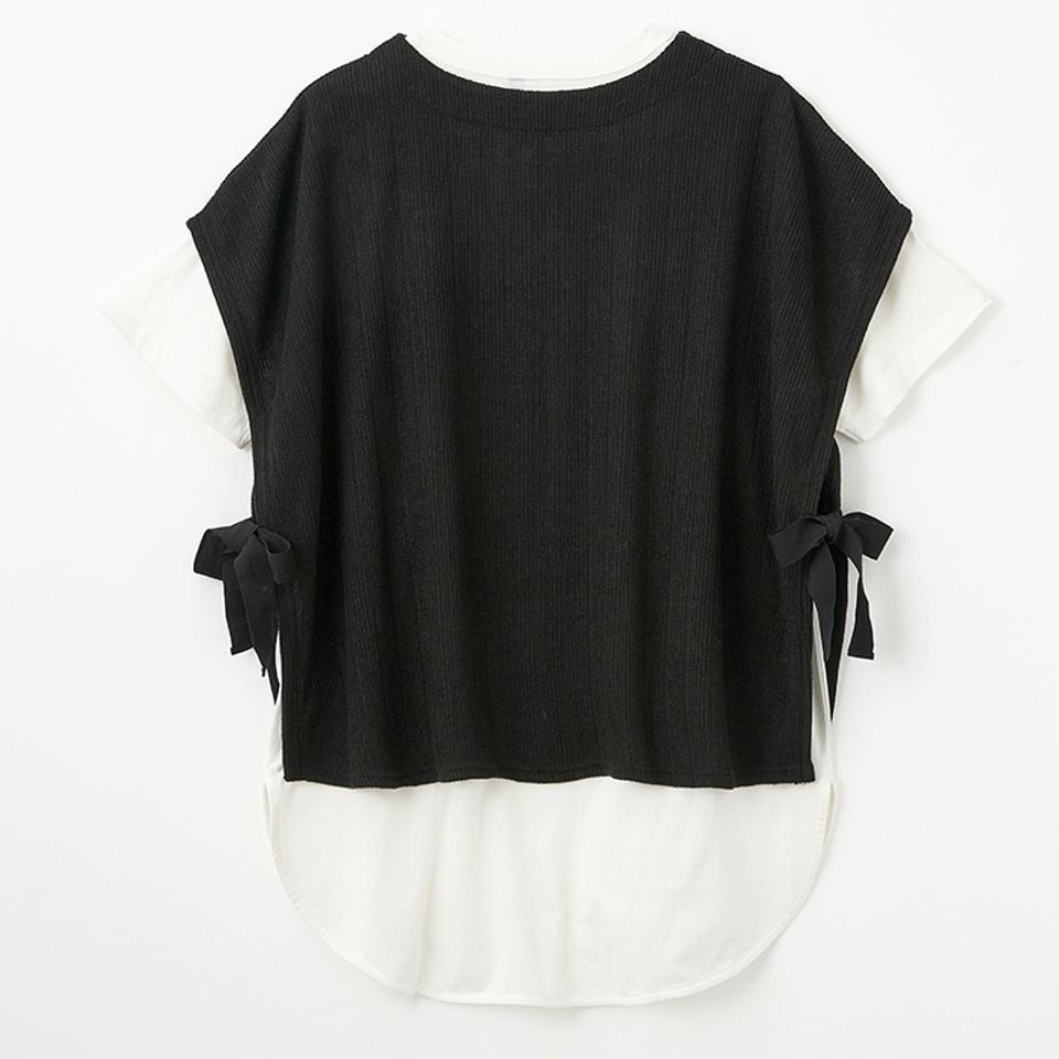 レディース サイドリボンベスト+Tシャツセット(バニラスタジオ)