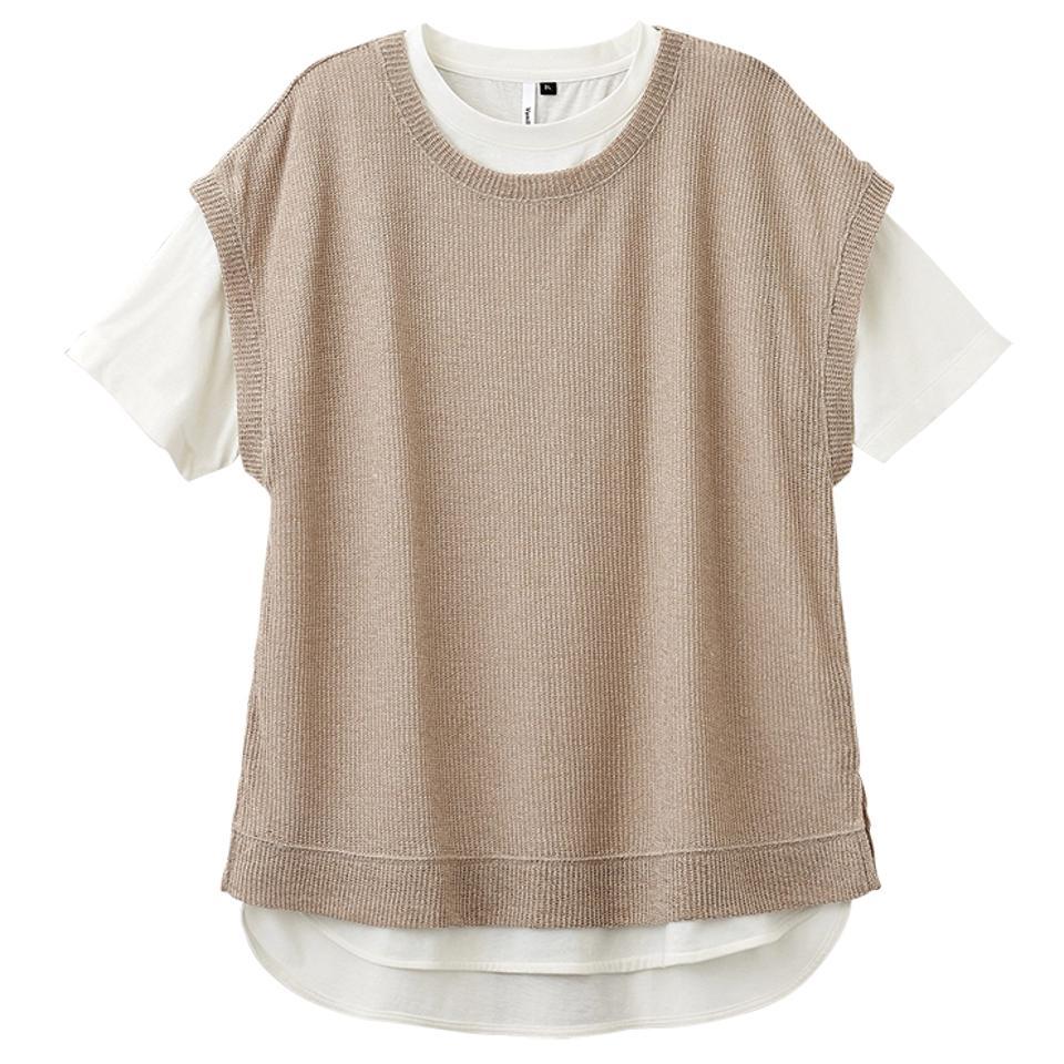 レディース バックスリットベスト+Tシャツセット(バニラスタジオ)