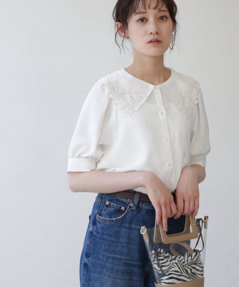 【WEB限定】刺繍衿袖ボリュームブラウス