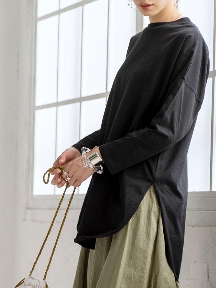 【WEB限定復刻】シャツテール裾ラウンドチュニックカットソー#