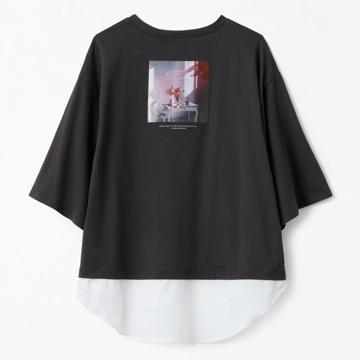 レディース 布帛切替Tシャツ(てら)