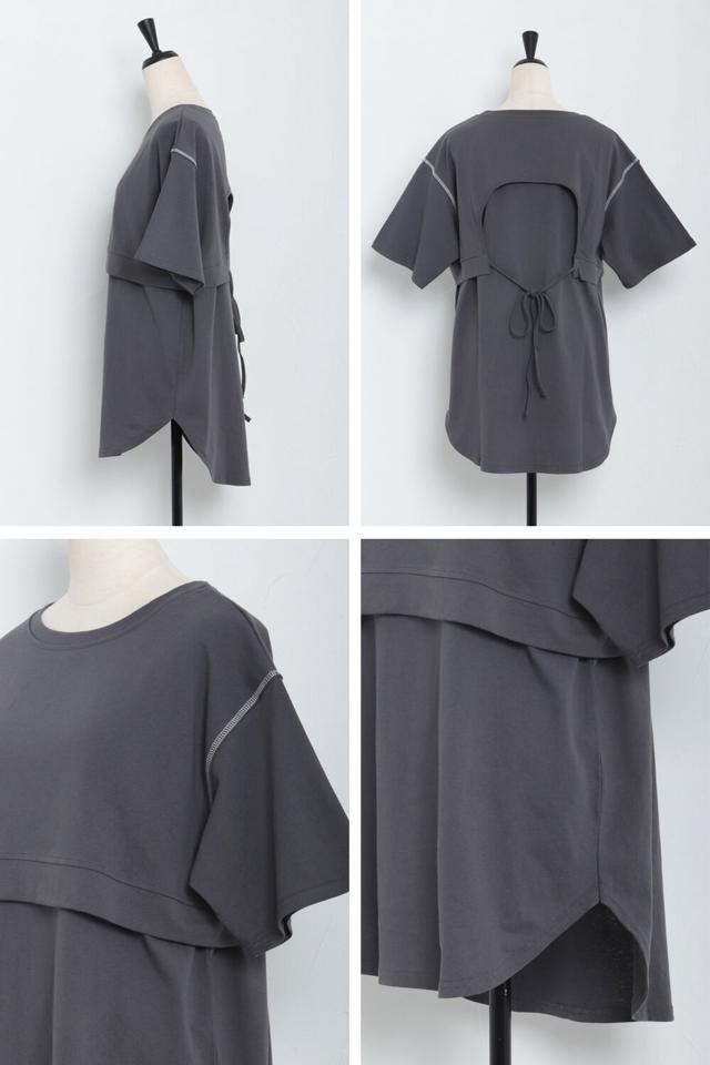 レイヤード風ステッチTシャツ
