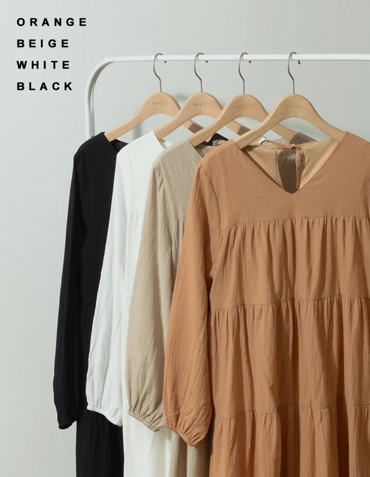 【20%OFF!AUTUMN SALE】[低身長サイズ有]シアーワッシャーティアードロングスリーブワンピース[入荷済]