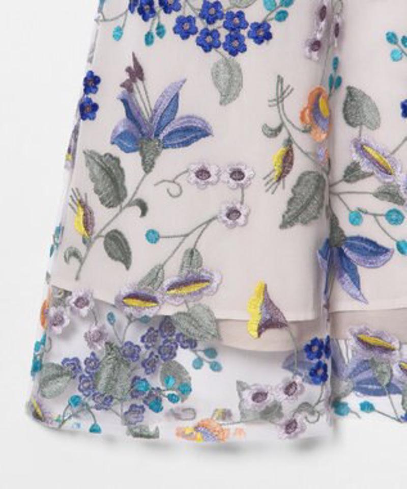 チュール刺繍シャツワンピース