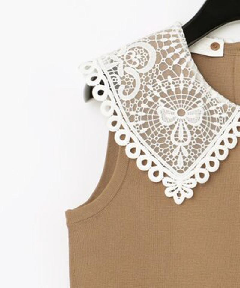 刺繍衿ニットノースリーブトップ