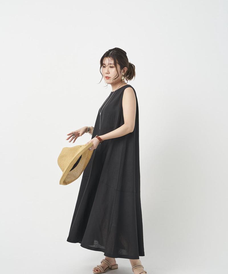 【着用動画あり】裾ティアードノースリワンピース