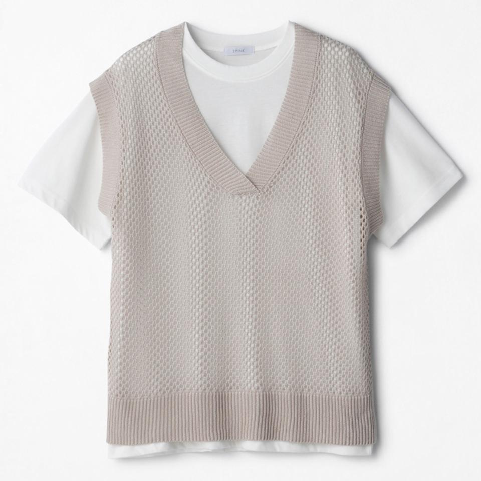 レディース ニットベスト+Tシャツセット(2PINK)