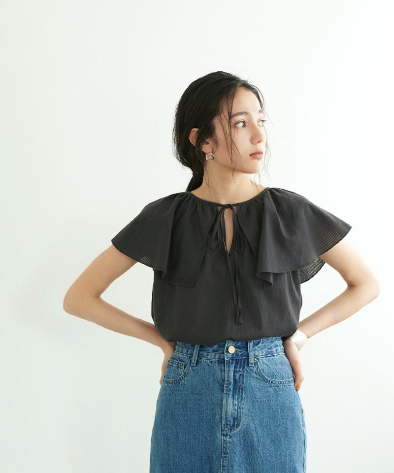 フリルカラーノースリーブトップス【メール便可/90】
