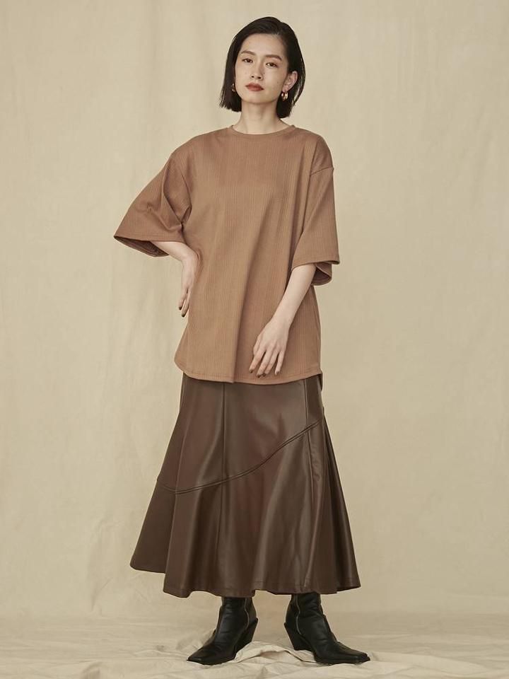 エコレザーパイピングマーメイドスカート