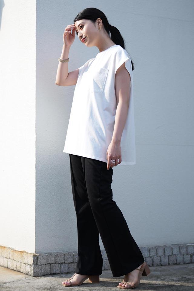 【美脚・脚長効果】センタープレスカラーフレアパンツ
