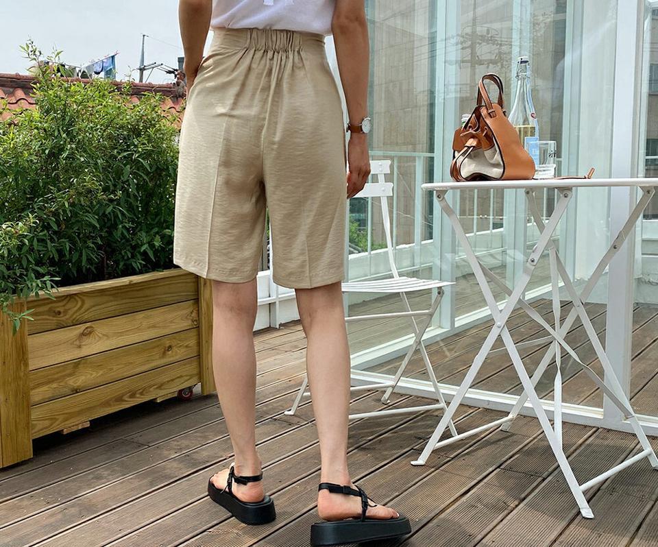 リボンハーフパンツ・全3色・t57650 レディース 【pt】 パンツ ズボン ハーフパンツ 半ズボン りぼん 単色 無地 シンプル カジュアル 大人 ワイド バミューダパンツ 春 夏 韓国 ファッション