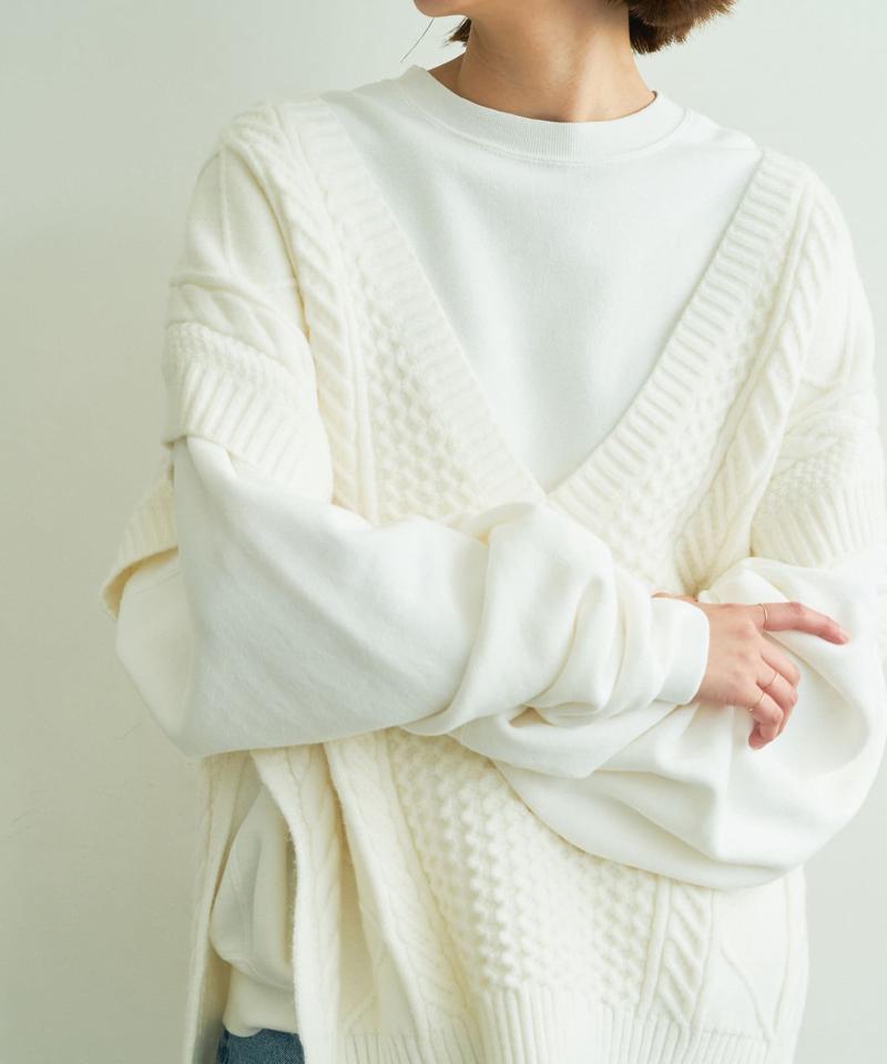 アラン編みニットベスト【オンラインストア限定商品】