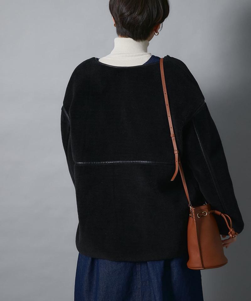 【スッキリとしたシルエット】ソフトタッチボアブルゾン