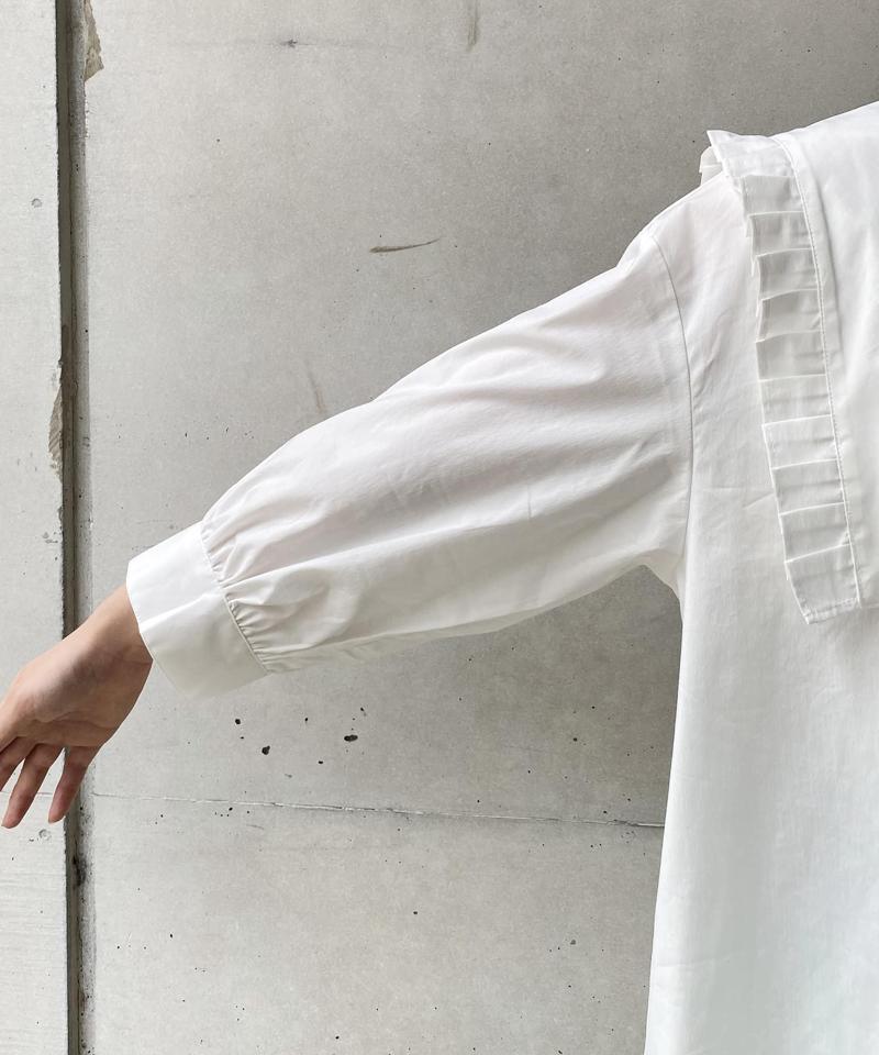 〈WEB限定〉タックフリルBIG衿シャツ