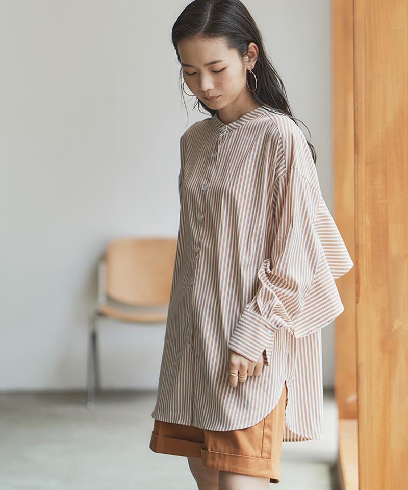 スタンドカラーバックフリルシャツ【メール便可/100】