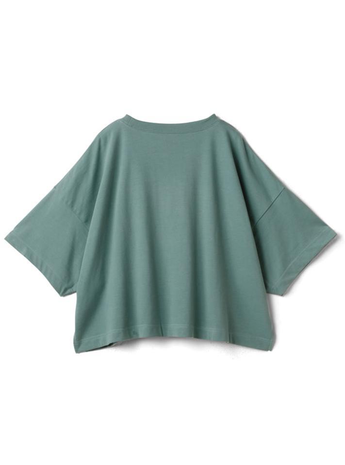 カレッジロゴサイドスリットショート丈Tシャツ