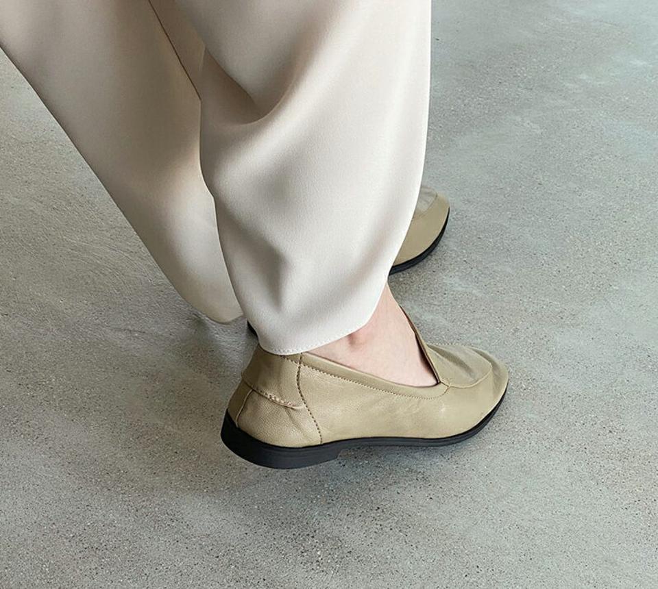 ギャザーフラットローファー・全3色・s00200 レディース 【sho】ローファー 靴 くつ シューズ フラット ぺたんこ フラットシューズ ギャザー 単色 無地 シンプル ベーシック 大人 韓国 ファッション ハイホリHIHOLLI