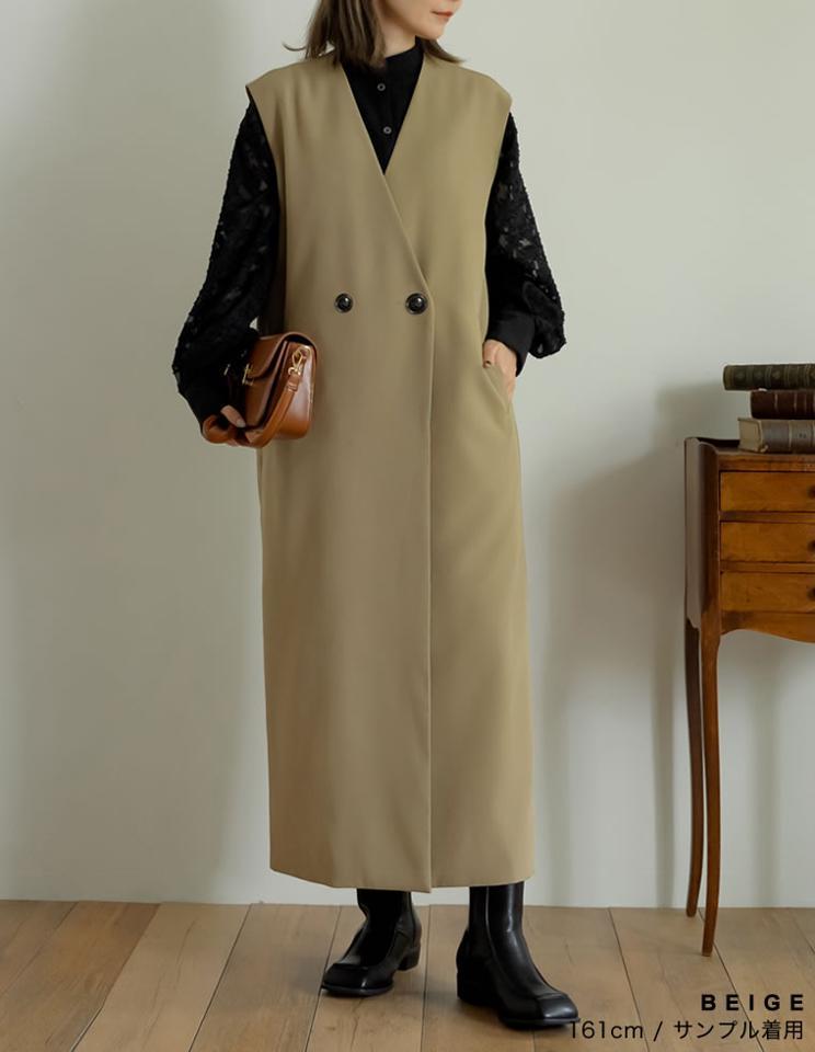 [神山まりあさん着用][低身長向けサイズ有]カットツイルノースリーブワンピースジャケット[入荷済]