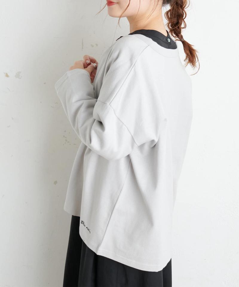 【Du noir】防油加工ロゴ刺繍スナップ釦カーディガン