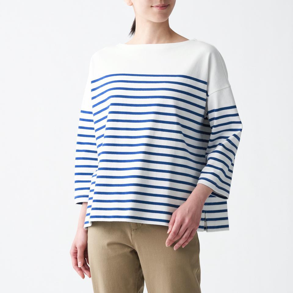 太番手天竺編みボートネック七分袖Tシャツ(パネル)