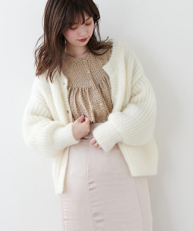 【着用動画あり】クリア釦ふわモコカラーカーディガン