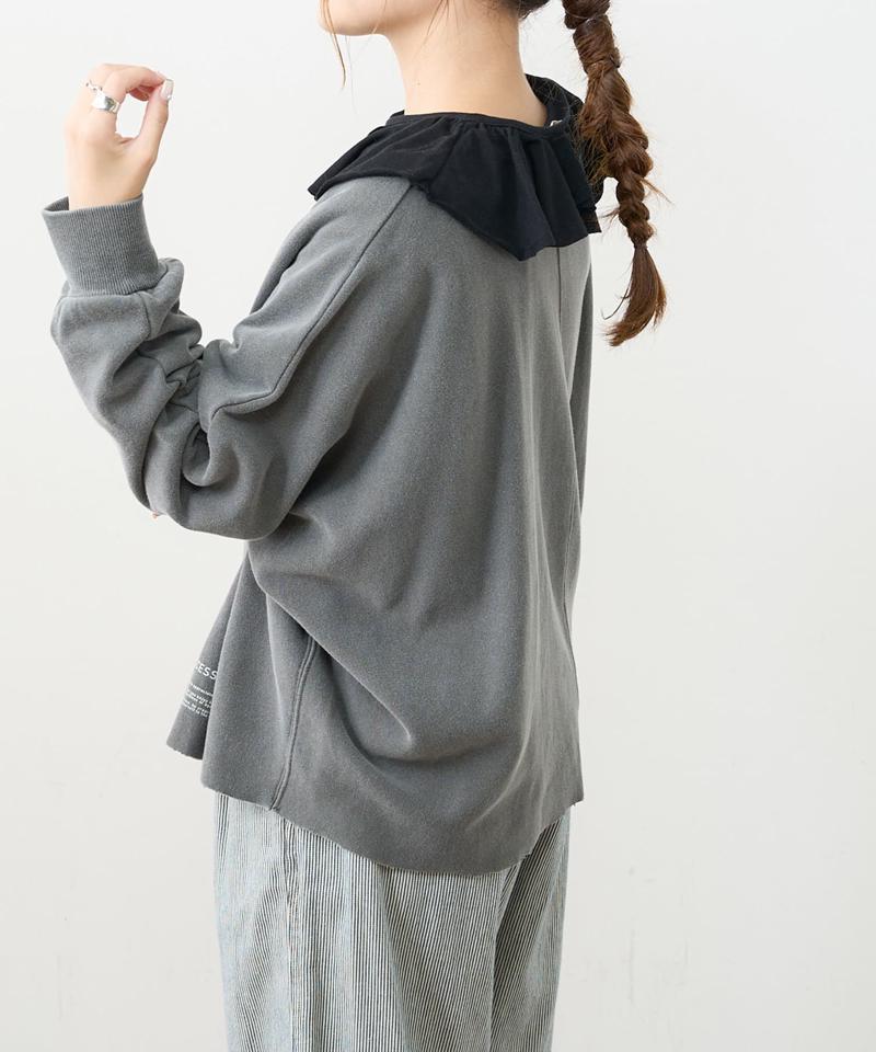 ジャガードリブフリル襟プルオーバー