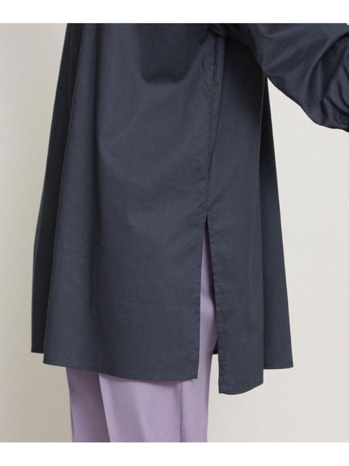 ギャザースリーブワイドミドル丈シャツ 長袖