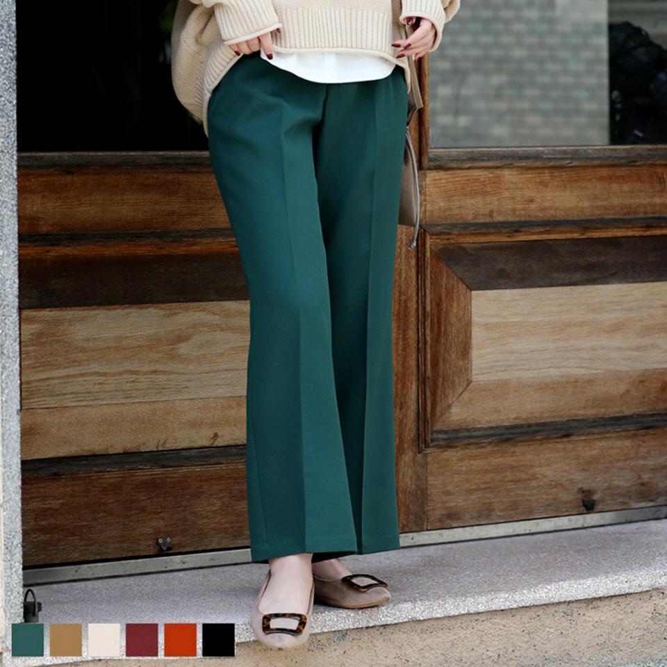 カラーセミフレアスラックス ウエストゴム センタープレス セミフレア スラックス カラバリ 低身長 脚長 体型カバー パンツ ボトムス レディース オフィス 選べる低身長さん向けプチサイズ&通常サイズ 美脚 レディース