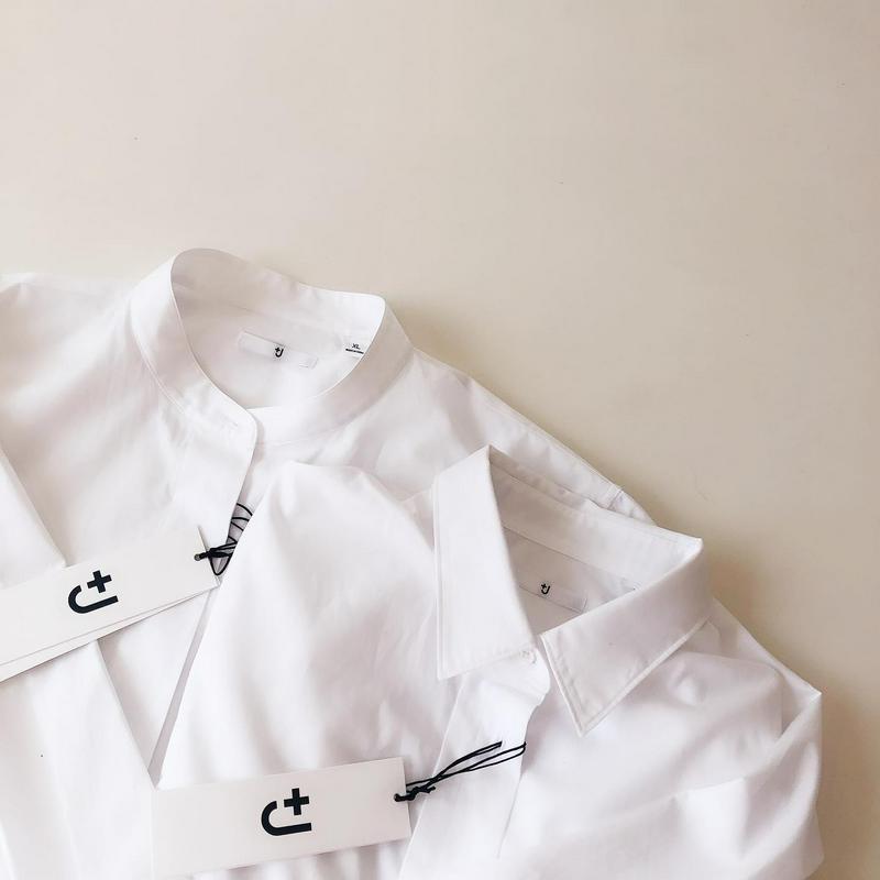 スーピマコットンスタンドカラーシャツ
