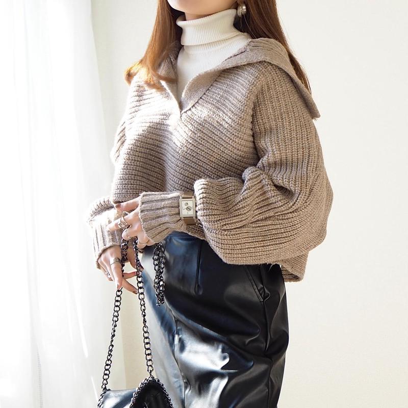 ブラックレザースカート